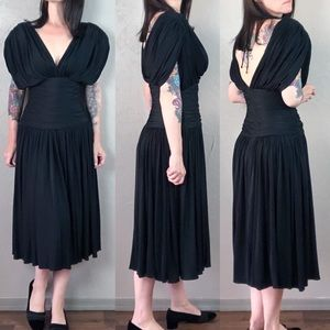 Vintage 1980s Black Draped Dress with Ruched Waist